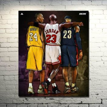 Michael Jordan Kobe Bryant Lebron James New NBA 24x30 inches Sport Prictre Print For Living Room Decor