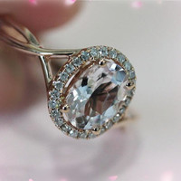 14K Rose Gold 6x8mm Oval Morganite Ring SI/H Diamonds Engagement Ring Anniversary Ring Promise Ring