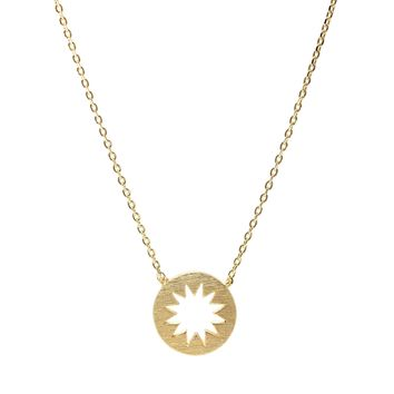 Handcrafted Brushed Metal Cut Out Sun Necklace