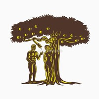 'Adam and Eve Apple Serpent Woodcut' T-Shirt by patrimonio