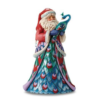 Jim Shore Santa With A Peacock Figurine