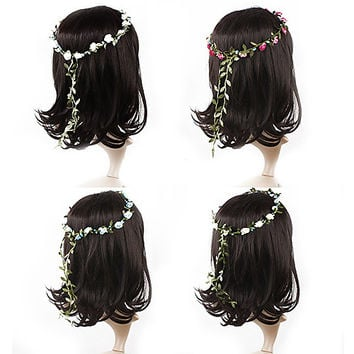 Bohemian Flower Crown Wedding Garland Forehead Hair Head Band Beach Wreath