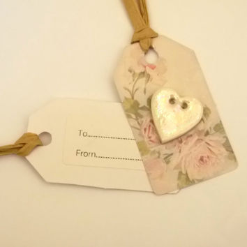 Handmade Vintage Style Gift Tag with Button for Birthdays or Weddings