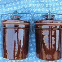 Stoneware Crocks with hinged bail latch lids 8 oz dark brown, 2 available