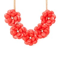 Blooming Coral Shiny Stone Teardrop Flowers Statement Necklace | Icing
