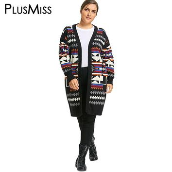 Plus Size Argyle Pattern Lantern Sleeve Sweater Women Warm Knitted Cardigan Coat Winter Long Loose Poncho Jumper Oversized
