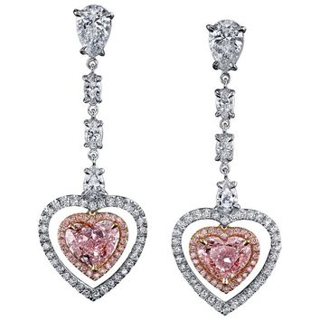 GIA Cert Pink Diamonds Two Color Gold Heart Shaped Dangling Earrings