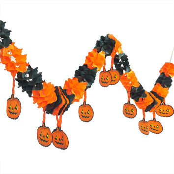 Lengthen Paper Chain Garland Pumpkin Halloween Decorations Ornament Party  Halloween Props Outdoor Paper Pull Flowers Banners