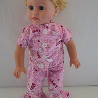 Handmade for  American Girl Doll Pink Fun Flannel Pajamas by vw53
