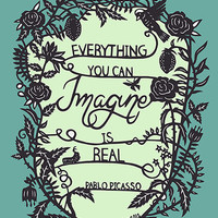 Everything You Imagine - Original Papercut Print - Inspirational Quote - 8x10 Blue