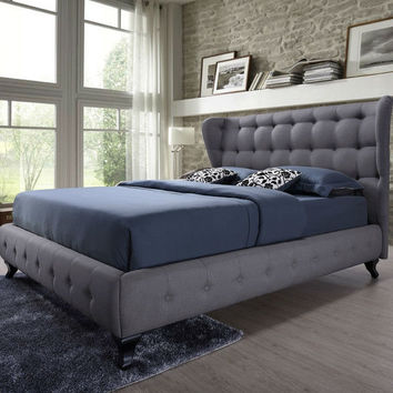 Queen Size Grey Button-Tufted Upholstered Platform Bed with Wingback Headboard