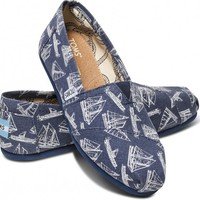 TOMS Navy Blue Sailboats Women's Classics Slip-on Shoes,