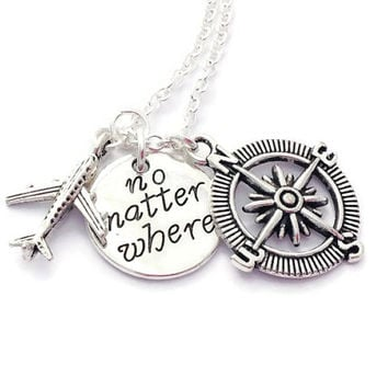 Travel Necklace, No Matter Where, Compass Necklace, Leaving Party Gift, Present For Friend, Graduation Token, Long Distance Cousin