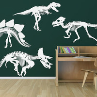Dinosaur Skeletons Your Choice of One - Removable Vinyl Wall Art