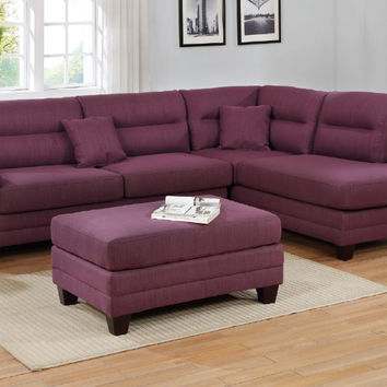 Poundex F6587 3 pc martinique warm purple linen like fabric sectional sofa with reversible chaise and ottoman
