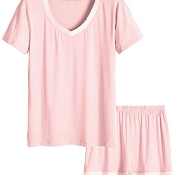 Women's V-Neck Sleepwear Short Sleeve Pajama Set