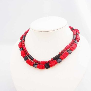 Red Coral and Blue Gold Sand Necklace, Blue and Red Necklace, Double Strand