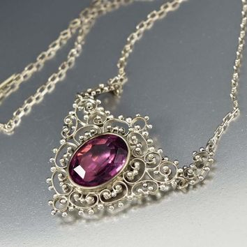 Silver Filigree Antique Amethyst Lavalier Necklace