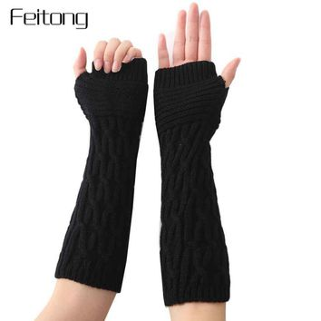 Mitten Women's Fingerless Gloves Lady Winter Hand Warmer Gloves Women Fashion Arm Sleeve Knitted Glove Female Mitts #ZYL