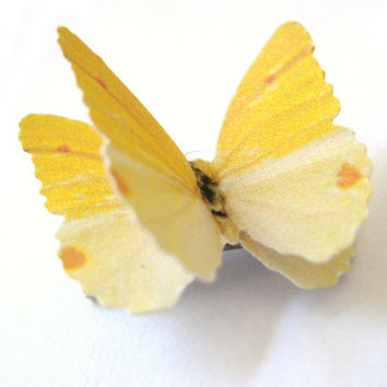 Yellow Hair Clip - Yellow Bridal Hair Clip Butterfly Bridesmaid Hair Accessories