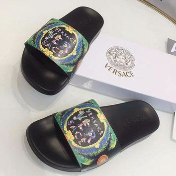 Versace street fashion men and women floral print holiday casual wild slippers