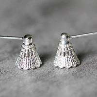 Tiny Badminton Earrings, Sterling Silver Badminton Stud Earrings, tiny earrings, shuttlecock studs earrings silver Jewelry, gifts for her