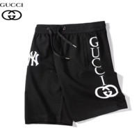 GUCCI & NY Summer New Fashion Embroidery Letter Print High Quality Sport Leisure Shorts Black