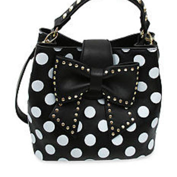 Betsey Johnson Hopeless Romantic Black & White Polka Dot Bow Bucket Tote Bag Purse