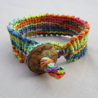 Psychedelic Hemp Cuff  Knotted Macrame by PerpetualSunshine111