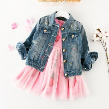 Trendy Denim Coat 2018 spring clothes for boys and girls denim jacket children clothing Cowboy Kids clothes coat 3T baby Autumn Outwear AT_94_13