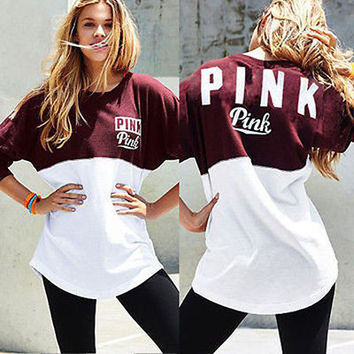 New Arrival 2017 Women Spring autumn long Sleeves T-shirts Casual pink Letter Printed Tops Street Wear Female