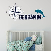 Dolphin Animal Personalized Name Wall Decal Full Color Mural for Nursery Boys Name Compass Nautical Decor Colorful Vinyl Sticker SD14