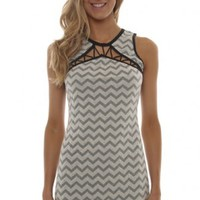 Ivory-Grey Stretchy Dress -