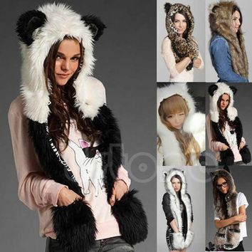 VONG2W 10 Styles Warm Winter Faux Animal Fur Hat Fluffy Plush Cap Dint Hood Scarf Shawl with Gloves Set Leopard Panda Hat Scarf Set