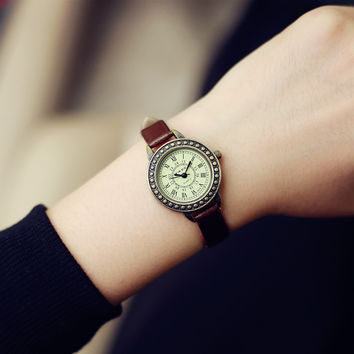Comfortable Vintage Fashion Quartz Classic Watch Round Ladies Women Men wristwatch On Sales = 4662270660