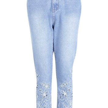 Poppy Cutwork Cropped Straight Leg Jeans | Boohoo