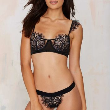SKIVVIESPenelope Lace Thong - Navy
