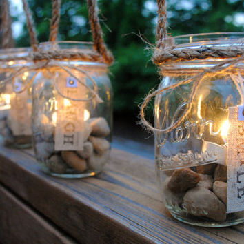 Decorated Mason Jars with Tea Candles Hanging by OurVintageCorner