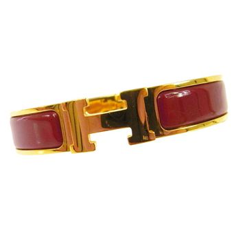 Authentic HERMES Vintage H Logos Clic Clac Bangle Gold Red Accessories AK16187A