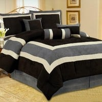 High Quality Micro Suede Queen Comforter Set Bedding-in-a-bag, Black Grey - Queen