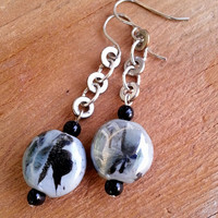 Dangle Earrings with Grey and Black Ceramic Bead Drops on Silver Tone Links - Dangle Drop Earrings - Silver Black and Grey Earrings