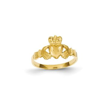 14K Yellow Gold Satin & Diamond-cut Claddagh Ring