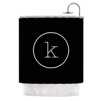 "KESS Original ""Simple Black Monogram"" Shower Curtain"