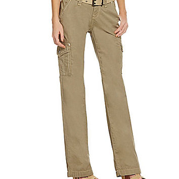 Rock Revival Belted Cargo Pants - Khaki Beige