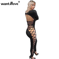 Wantmove 2017 summer style lace up sexy club party jumpsuit S-XL skinny jumpsuits and rompers for women XD794