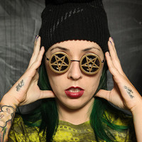 ZEF2DEATH Black round pentagram sunglasses in gold ZEF hiphop strange eyewear