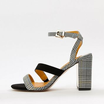 River Island strap detail heeled sandals in check at asos.com