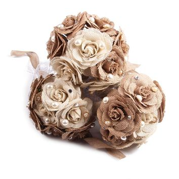 Rustic Wedding Bouquet Burlap Bouquet Lace and Pearls