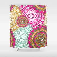 Happy-Go-Boho Shower Curtain by inspiredimages