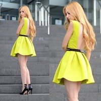 Sheinside Neon Green Sleeveless Ruffle Backless Dress